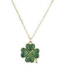 Lux Accessories Goldtone Bling Four Leaf Clover Pendant Necklace