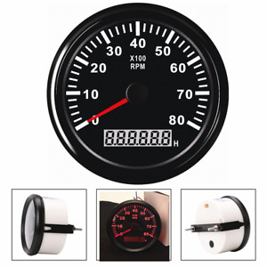 Universal 12/24V Marine RPM Tachometer Gauge LCD Tacho Hour Meter 0-8000RPM 85mm