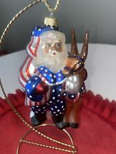 Santa Claus Ornament with donkey red white and blue theme Usa Stars And Stripes