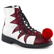 Funtasma Men's IT-100 White & Red Lace Up Clown Halloween Costume Ankle Boots