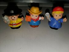 Fisher Price Little People Figures lot of 3 Farmer, Mechanic , Fireman euc