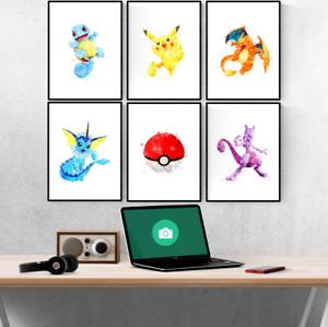 Pokemon Go Watercolour Set Of 6 Prints Pictures Wall Art Poster