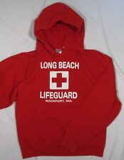 LIFEGUARD ~ Cotton Blend Hoodie Sweatshirt Rockport Ma ~ Adult Small - Red
