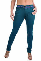 NEW (1325) Ladies Straight Leg Soft Jeans Mid Rise Belted Dyed Blue Size 6