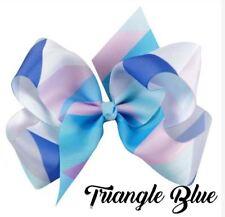 Jojo Siwa 5 Inch Mosaic Grosgrain Ribbon Hair Bow Clip - TRIANGLE BLUE