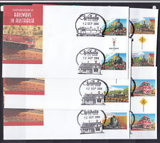 SOUVENIR COVERS:2004 TRAINS SET IN GUTTER PAIRS ON 150TH ANN OF RAILWAYS IN AUST