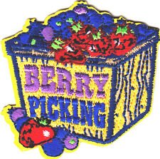 """BERRY PICKING"" - IRON ON EMBROIDERED PATCH - FRUIT - BERRIES - FOOD"