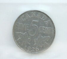 1926 George V 5 Cents Nickel CAN • Far 6 Scratches • Grade VG-8