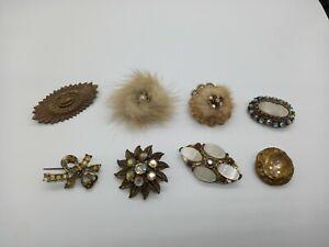 Bundle x8 Vintage Brooch Bundle Mixed Styles inc Gold Tone Rhinestones Fur