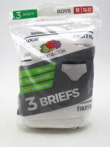 3pr Boys White 100% Cotton Briefs Underwear M 10-12 Fruit of the Loom