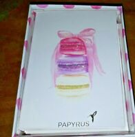LOT OF 14 PAPYRUS MACARONES COOKIES BOW GLITTER  charm glitter BLANK NOTE CARDS