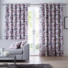 """Chelsea Lined Eyelet Curtains Heather W 66"""" D 54"""" NEW (P)"""