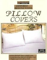 4 VINYL ZIPPERED PILLOW COVERS PROTECTORS, PILLOW CASES