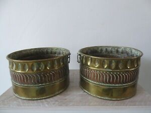 2 x Brass and Copper Planters