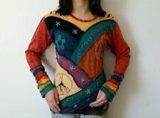 FT7 COTTON T-SHIRT NEPAL : Handmade Multi-color Floral Patchworks Top Blouse S