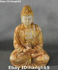 China alte alte Jade Vergoldung Shakyamuni Sakyamuni Tathagata Buddha Statue