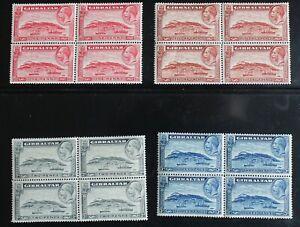 Gibraltar – 1931 GvR Set in Blocks of 4 – SG 110, 111, 112 & 113a – UM (MNH) (R4