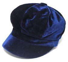 Navy Blue Faux Velvet Baker Boy Hat Womens Ladies Newsboy Cap Bargain