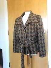 Ladies ZARA Coat Size XL 14 Brown Tweed Boucle Winter Smart Casual