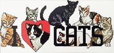 Stickpackung Kreuzstich I LOVE CATS 40x21 cm, Sticken Handarbeiten Zählmuster