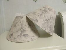 Handmade Coolie Lampshade Grey Beige Faded Rose Floral French Linen Fabric 25cm
