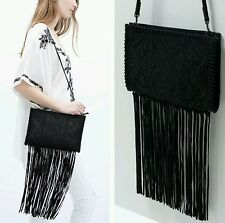 Zara Fringe Beaded Clutch black suede Ref. 4141/004 NWT!