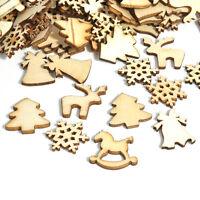100pcs Xmas Christmas Tree Wood Chip Snowflake Ornaments Hanging Decoration DIY
