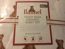 New Pottery Barn Kids Organic Winter Bear flannel Full Sheet Set In Packaging