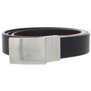 Robert Graham Mens Homer Black Faux Leather Dressy Reversible Belt 44  1591