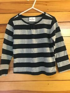 Hanna Andersson Striped Shirt Girls Black & Gray Top EUC Size 100 4
