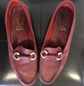 GUIDO MOCASINES Red Leather Loafers / Flats Ladies Size 39 Pre-Loved Argentina