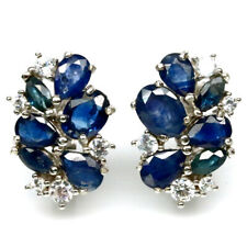 NATURAL BLUE SAPPHIRE & WHITE CZ 925 STERLING SILVER EARRINGS