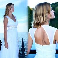 Ever-Pretty Formal Bridesmaid Dress Long Chiffon V Neck Prom Dresses White 08697