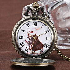 New Alice in Wonderland Necklace Vintage Bronze Pocket Watch Rabbit Pendant Xmas