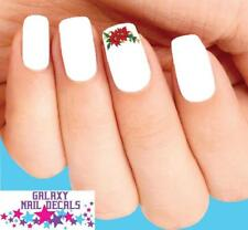 Waterslide Nail Decals - Set of 20 Christmas Holiday Poinsettia with Holly & Bow