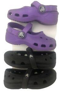 lot of 2 toddler classic Crocs clogs water shoes size 4 Purple Black Sandals