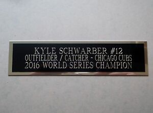 Kyle Schwarber Cubs Engraved Nameplate For A Baseball Bat Display Case 1.5 x 6
