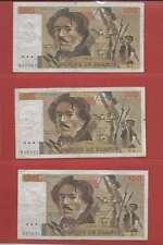 Lot de 3 x 100 FRANCS EUGENE  DELACROIX de 1978 ALPHABETS N.1 V.1 X.1