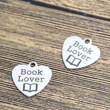 10pcs book lover heart charm silver tone message charm pendant 20mm