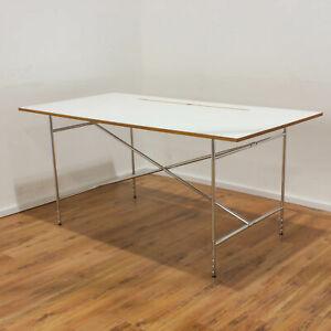 Eiermann 2 Schreibtisch 180x80cm - Platte Eiche massiv Melamin beschichtet