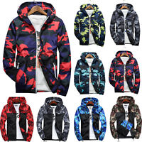 Mens Waterproof Camo Windbreaker Hooded Sweatshirt Zip Jacket Outwear Stylish