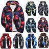 Men Waterproof Camo Windbreaker Hoodie Hooded Sweatshirt Zip Jacket Outwear New