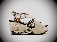 Qupid- Stone Black Snake Strappy Wedge Sandals. Size-8. NWOB