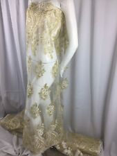 Beaded fabric - Embroidered Lace Sequin Gold & Ivory For Bridal Veil By The Yard