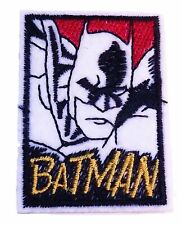 "Batman Comic Face With Name 2 1/4"" Tall Embroidered Iron on Patch"