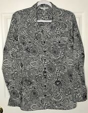 Notations Woman 1X Black White Foral Paisley Button Front Shirt Top Blouse