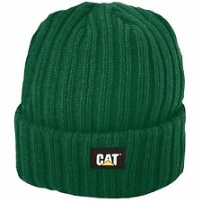 CAT Caterpillar  Ribbed Knitted Beanie Cap Winter Work Hat in Green