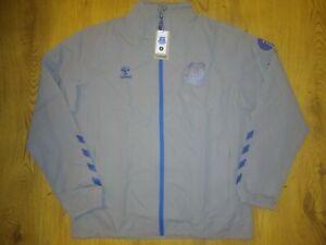 New Everton FC 20/21 Training Rain Coat Jacket Top Adult Grey XL XLarge Hummel