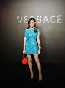 VERSACE LAMBSKIN LEATHER TURQUOISE BODYCON DRESS SIZE IT 40 US 6