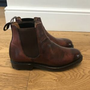 Hoggs of Fife Mens Brown Leather Country Dealer Boots Chelsea Boot 8.5